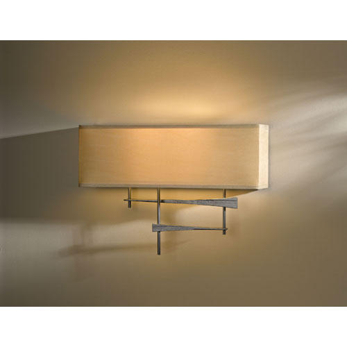 Hubbardton Forge Cavaletti Burnished Steel Two Light Wall Sconce with Doeskin Micro-Suede Shade