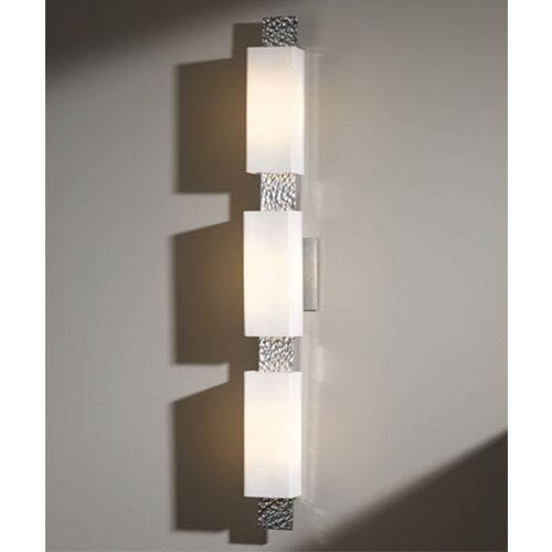 Hubbardton Forge Oceanus Vintage Platinum Three-Light Wall Sconce with Opal Glass