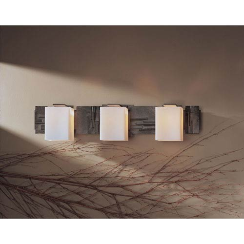 Impressions Dark Smoke Three-Light Wall Sconce with Opal Glass
