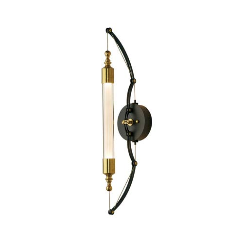 Otto Brass with Black Two-Light 5-Inch Wall Sconce with Clear with Frost Glass