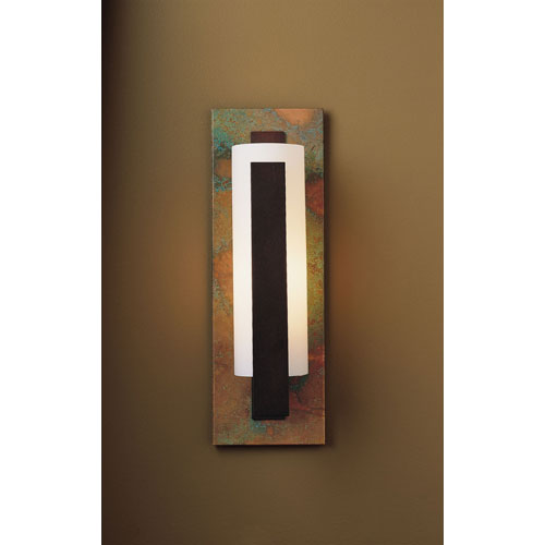 Vertical Bar Mahogany One Light Wall Sconce with Opal Glass