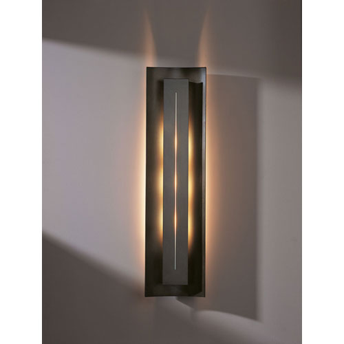 Gallery Dark Smoke 27.25-Inch Three Light Wall Sconce with Ivory Art Glass