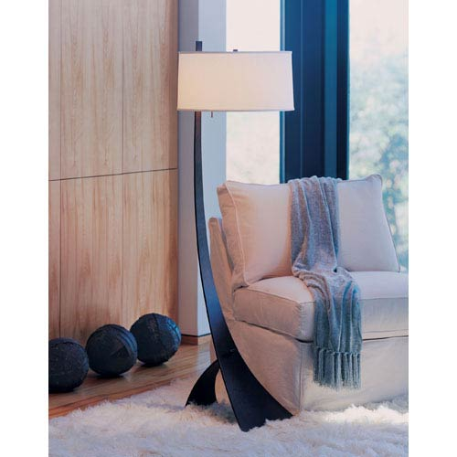 Hubbardton Forge Stasis Bronze One Light Floor Lamp with Natural Anna Shade
