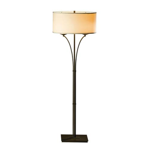 Formae Contemporary Bronze Two-Light 14-Inch Floor Lamp with Doeskin Suede Shade