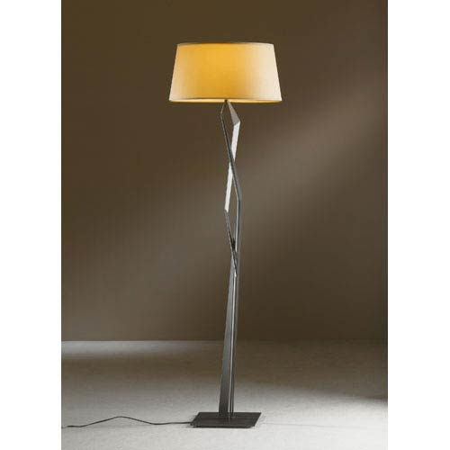 Hubbardton Forge Facet Dark Smoke One Light Floor Lamp with Doeskin Micro-Suede Shade