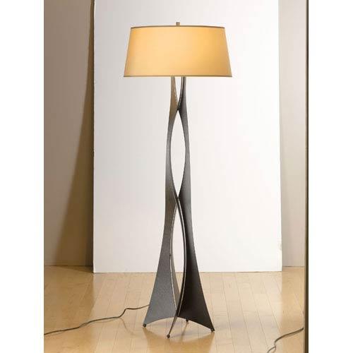 Hubbardton Forge Moreau Dark Smoke One Light Floor Lamp with Doeskin Micro-Suede Shade