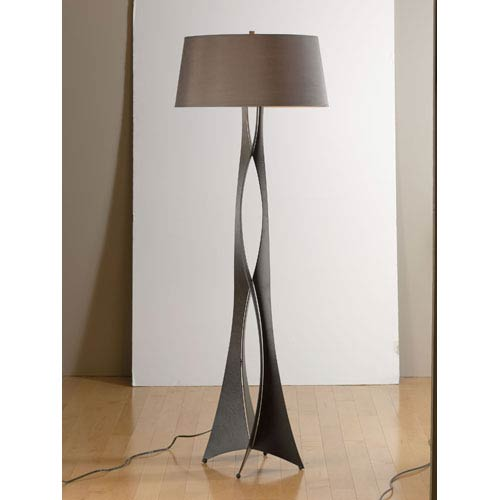 Hubbardton Forge Moreau Dark Smoke One Light Floor Lamp with Eclipse Micro-Suede Shade