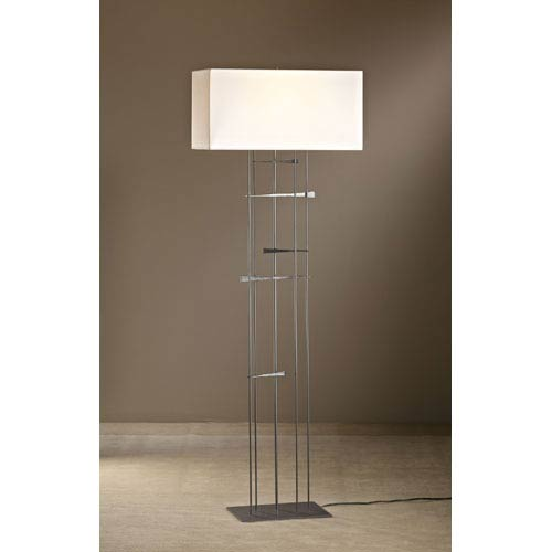 Hubbardton Forge Cavaletti Burnished Steel One Light Floor Lamp with Natural Anna Shade
