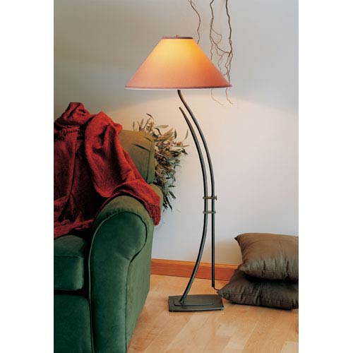 Metamorphic Natural Iron One Light Floor Lamp with Doeskin Micro-Suede Shade