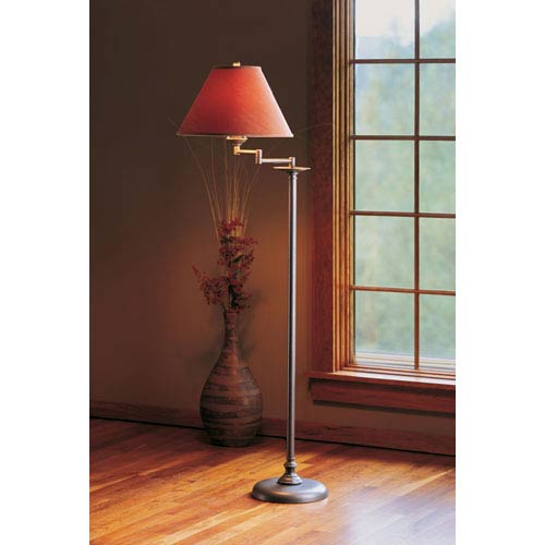 Simple Lines Natural Iron One Light Floor Lamp with Terra Micro-Suede Shade