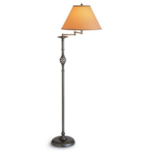 Hubbardton Forge Twist Basket Natural Iron One Light Floor Lamp with Doeskin Micro-Suede Shade