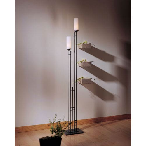 Hubbardton Forge Metra Natural Iron Two Light Floor Lamp with Opal Glass