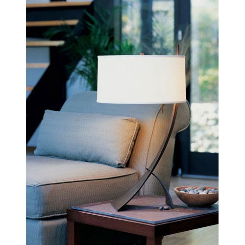Stasis Bronze One Light Table Lamp with Natural Anna Shade