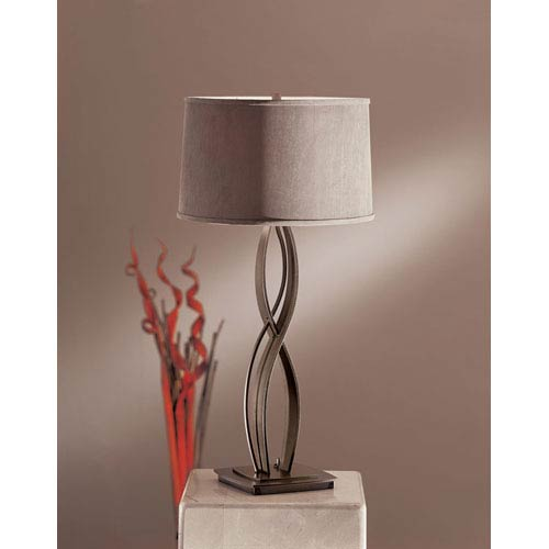 Hubbardton Forge Almost Infinity Dark Smoke One Light Table Lamp with Eclipse Micro-Suede Shade