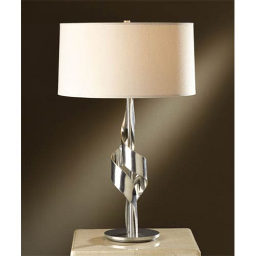 Flux Vintage Platinum One-Light Table Lamp with Flax Shade
