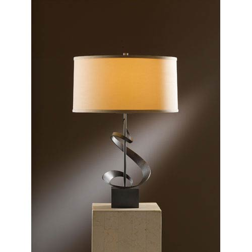 Hubbardton Forge Gallery Dark Smoke 22.9-Inch One Light Table Lamp with Doeskin Micro-Suede Shade
