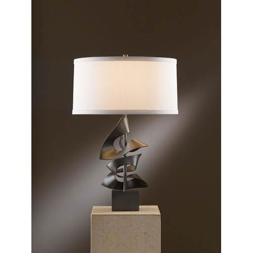 Gallery Dark Smoke One Light Table Lamp with Natural Anna Shade