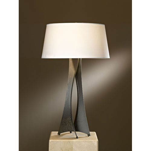 Moreau Dark Smoke One Light Table Lamp with Natural Anna Shade