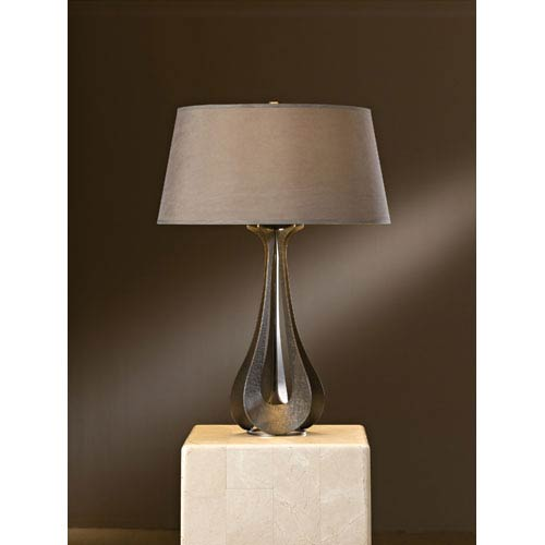 Lino Dark Smoke One Light Table Lamp with Eclipse Micro-Suede Shade