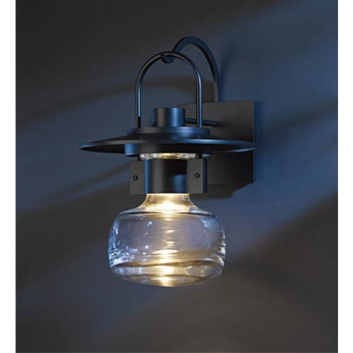 Hubbardton Forge Mason Black One-Light Large Outdoor Hanging Wall Mount with Clear Glass