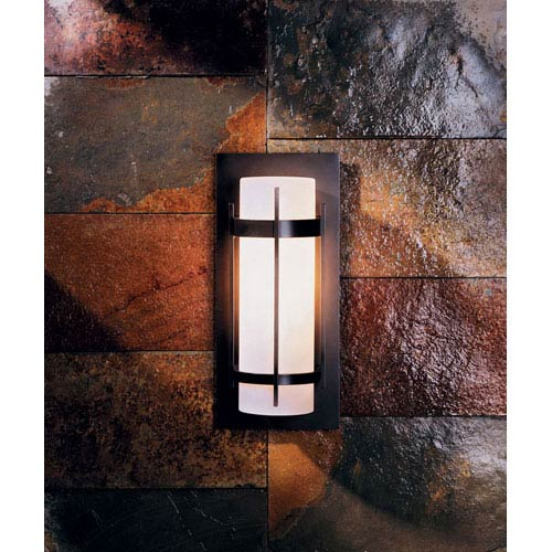 Banded Aluminum Natural Iron One Light Outdoor Sconce with Opal Glass