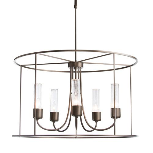 Portico Coastal Bronze Five-Light 32-Inch Outdoor Pendant with Seeded Clear Glass