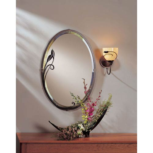 Universal Bronze 22 X 32-Inch Oval Mirror with Leaf