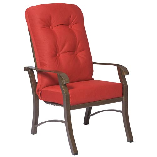 Cortland Cushion Dupione Papaya High Back Dining Arm Chair