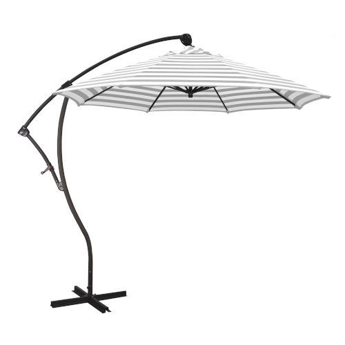 Bayside Bronze with Gray White Cabana Stripe Nine-Feet Olefin Patio Umbrella