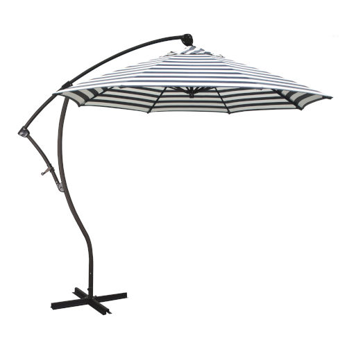 Bayside Bronze with Navy White Cabana Stripe Nine-Feet Olefin Patio Umbrella