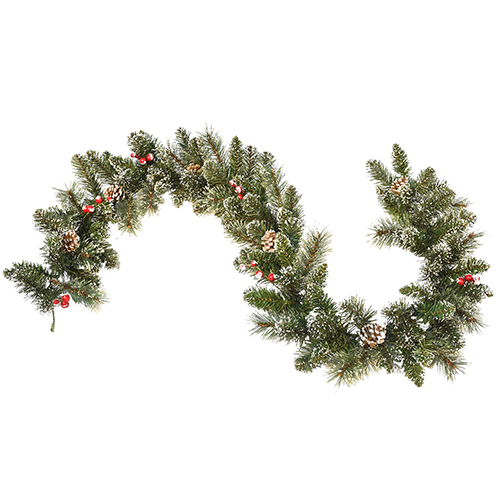 6-Feet Snow Cashmere Mix Pine Garland with 106 tips Pinecones and Berry