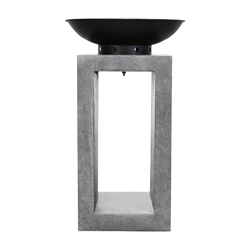 Midas Fire Pedestal in Light Gray Cement