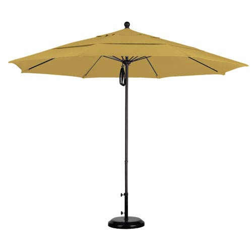 11 Foot Umbrella Fiberglass Market Pulley Open Double Vent Bronze/Sunbrella/Brass