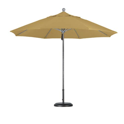 9 Foot Umbrella Fiberglass Market Pulley Open Anodized/Sunbrella/Brass