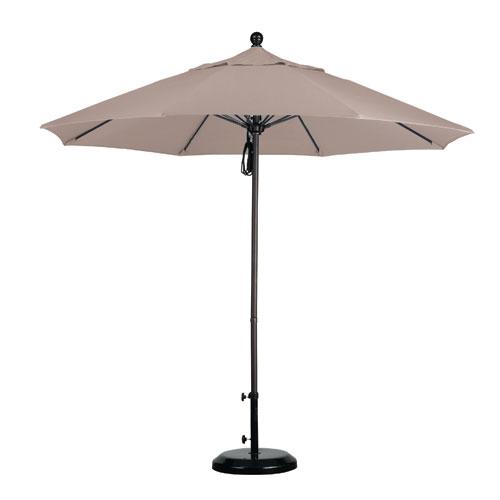 California Umbrella 9 Foot Umbrella Fiberglass Market Pulley Open Bronze/Olefin/Champagne