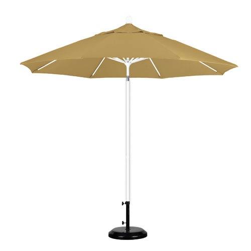 9 Foot Umbrella Fiberglass Market Pulley Open Matte White/Sunbrella/Brass