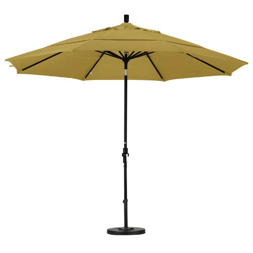 11 Foot Umbrella Aluminum Market Collar Tilt Double Vent Matted Black/Sunbrella/Brass