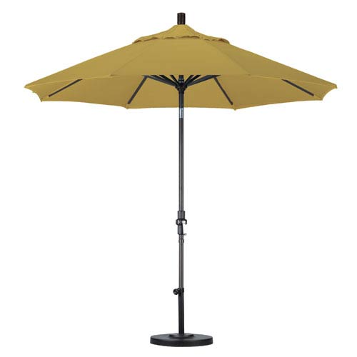 9 Foot Umbrella Aluminum Market Collar Tilt - Matted Black/Sunbrella/Brass