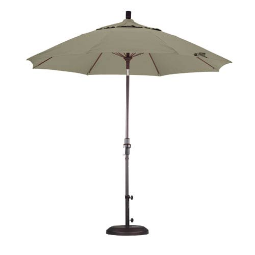 California Umbrella 9 Foot Umbrella Fiberglass Market Collar Tilt Bronze/Pacifica/Taupe