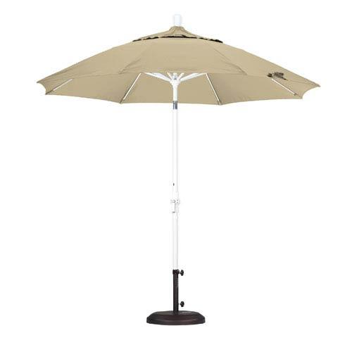 California Umbrella 9 Foot Umbrella Fiberglass Market Collar Tilt - Matted White/Pacifica/Beige