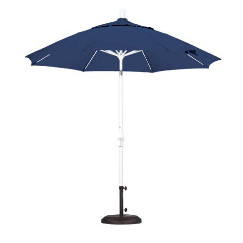 California Umbrella 9 Foot Umbrella Fiberglass Market Collar Tilt - Matted White/Pacifica/Sapphire