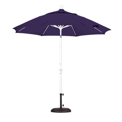 9 Foot Umbrella Fiberglass Market Collar Tilt - Matted White/Pacifica/Purple