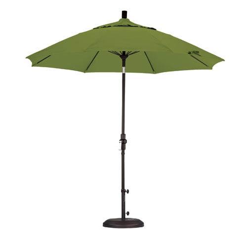 California Umbrella 9 Foot Umbrella Fiberglass Market Collar Tilt - Matted Black/Pacifica/Ginkgo