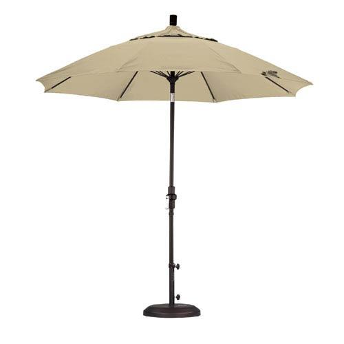 9 Foot Umbrella Fiberglass Market Collar Tilt - Matted Black/Pacifica/Beige
