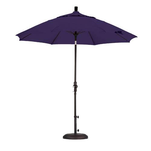 9 Foot Umbrella Fiberglass Market Collar Tilt - Matted Black/Pacifica/Purple