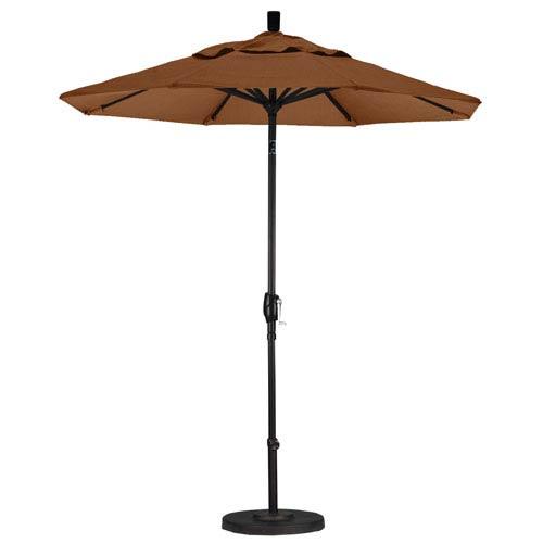 California Umbrella 7.5 Aluminum Market Umbrella Push Tilt Black/Sunbrella/Canvas Teak