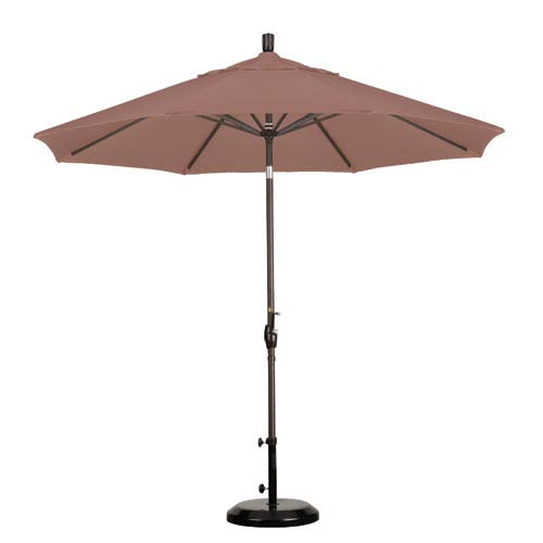 California Umbrella 9 Foot Umbrella Aluminum Market Push Tilt - Bronze/Olefin/Straw