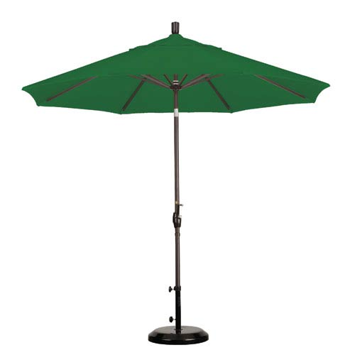 9 Foot Umbrella Aluminum Market Push Tilt - Bronze/Pacifica/Hunter Green