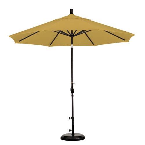 9 Foot Umbrella Aluminum Market Push Tilt - Matte Black/Sunbrella/Brass