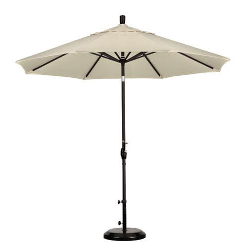 California Umbrella 9 Foot Umbrella Aluminum Market Push Tilt - Matte Black/Pacifica/Canvas